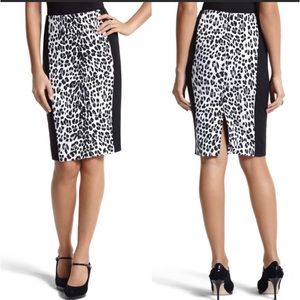 WHBM Black and White Leopard Print Pencil Skirt
